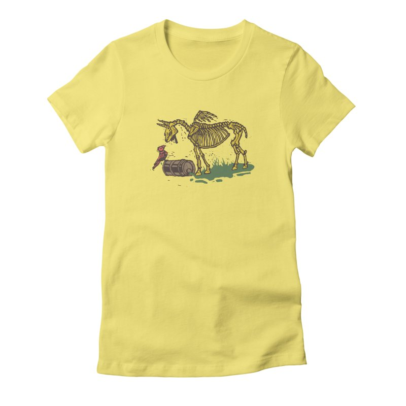 Yellow horse Women's Fitted T-Shirt by kotocut's Artist Shop
