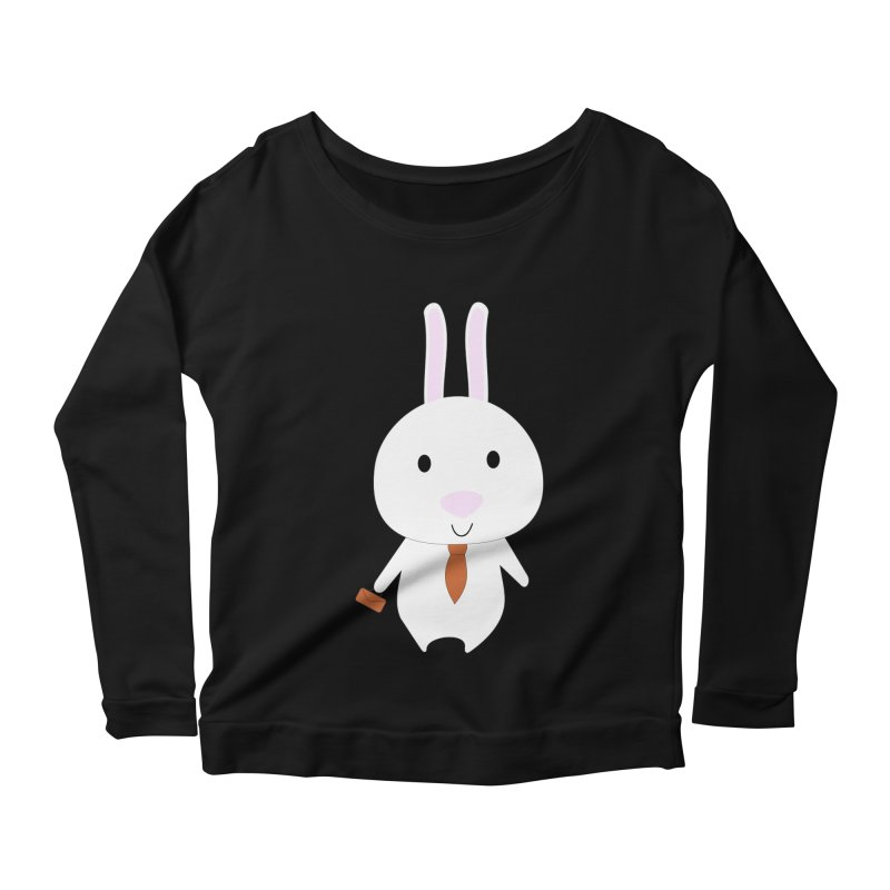 Mr Bunny Women's Longsleeve Scoopneck  by 1001 bunnies