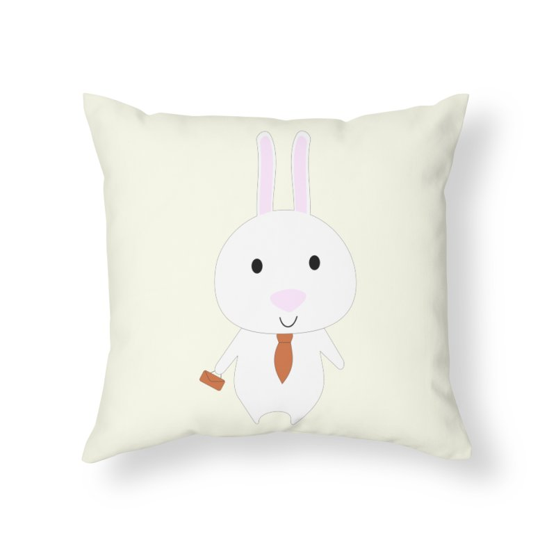 Mr Bunny Home Throw Pillow by 1001 bunnies