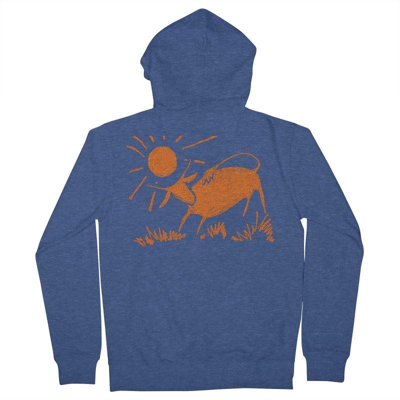 Bull Men's French Terry Zip-Up Hoody by kouzza's Artist Shop