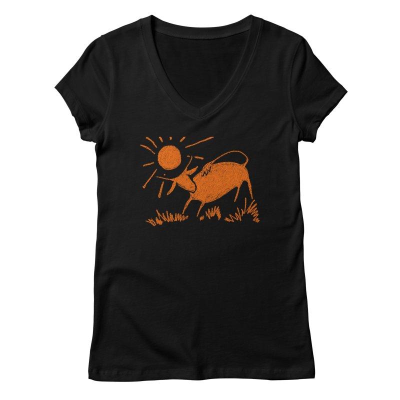 Bull Women's V-Neck by kouzza's Artist Shop