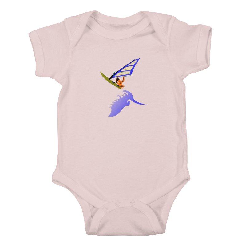 Windsurfing  Kids Baby Bodysuit by kouzza's Artist Shop