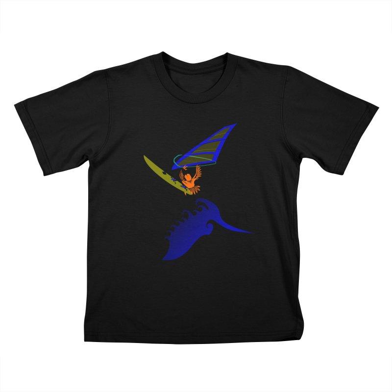 Windsurfing  Kids T-Shirt by kouzza's Artist Shop