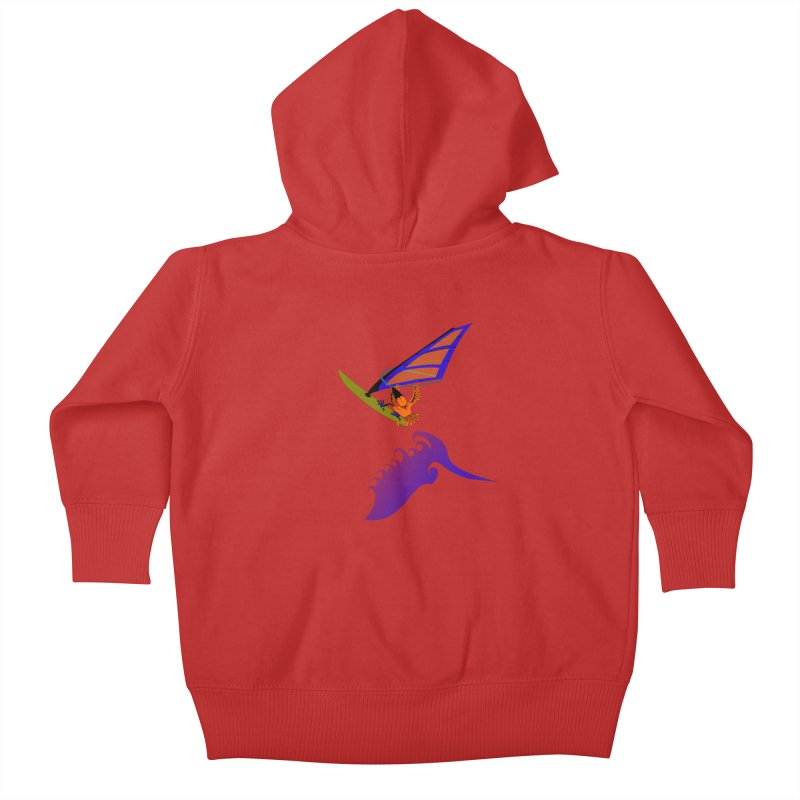 Windsurfing  Kids Baby Zip-Up Hoody by kouzza's Artist Shop