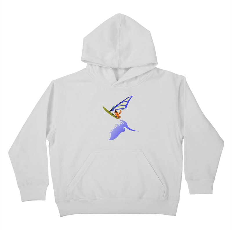Windsurfing  Kids Pullover Hoody by kouzza's Artist Shop
