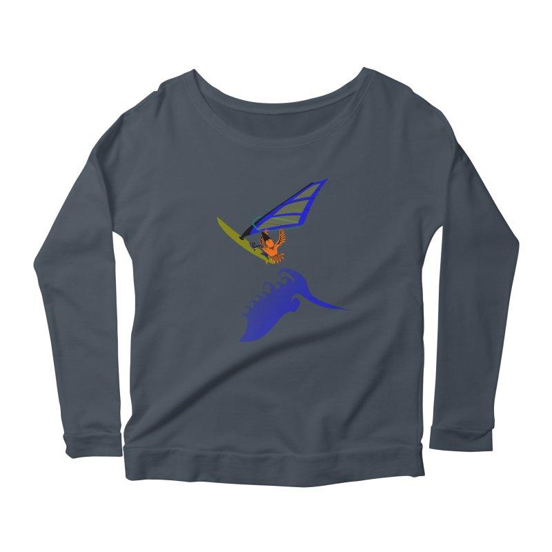 Windsurfing  Women's Scoop Neck Longsleeve T-Shirt by kouzza's Artist Shop