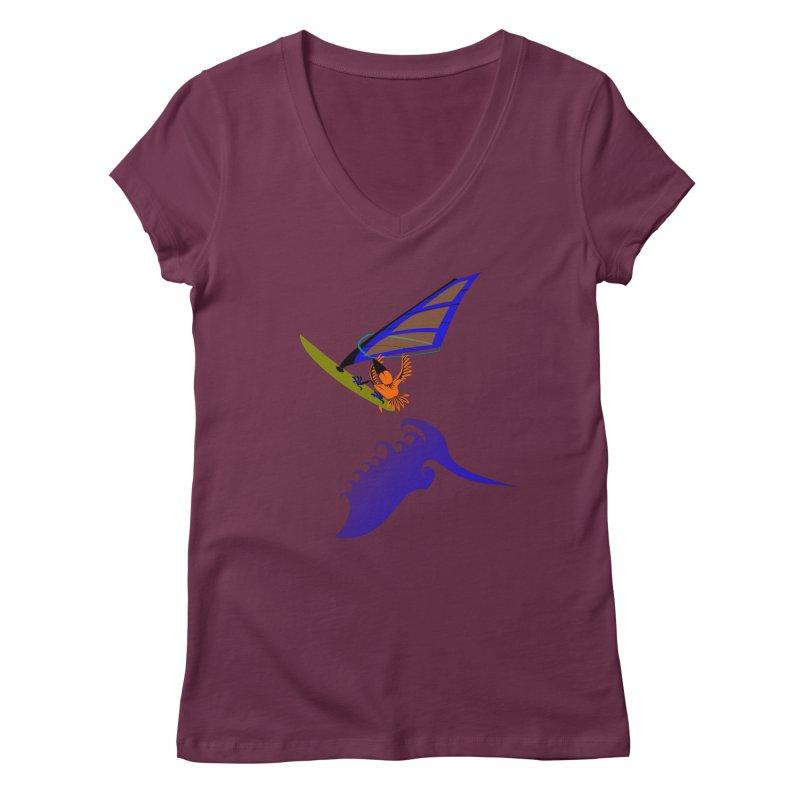 Windsurfing  Women's V-Neck by kouzza's Artist Shop