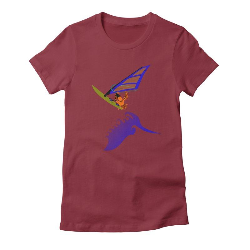 Windsurfing  Women's Fitted T-Shirt by kouzza's Artist Shop