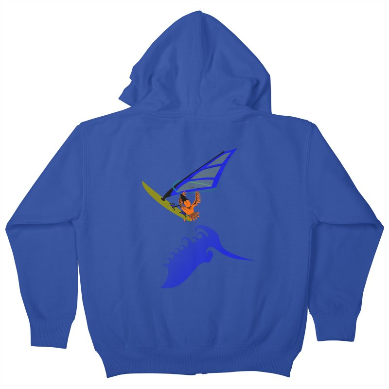 Windsurfing  Kids Zip-Up Hoody by kouzza's Artist Shop