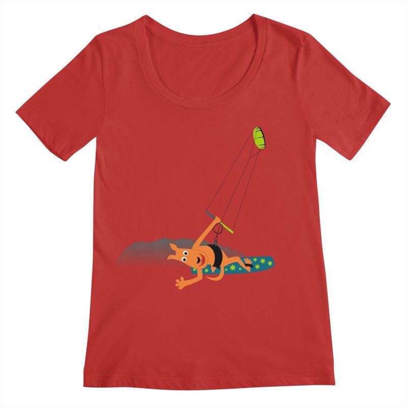 Kitesurfer Women's Scoop Neck by kouzza's Artist Shop