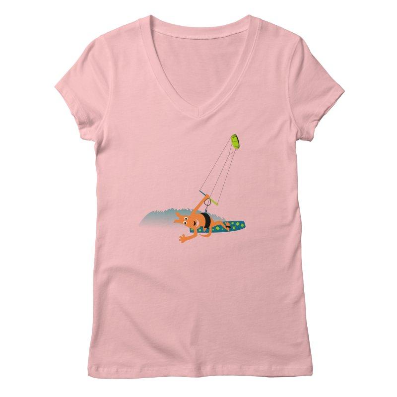 Kitesurfer Women's V-Neck by kouzza's Artist Shop