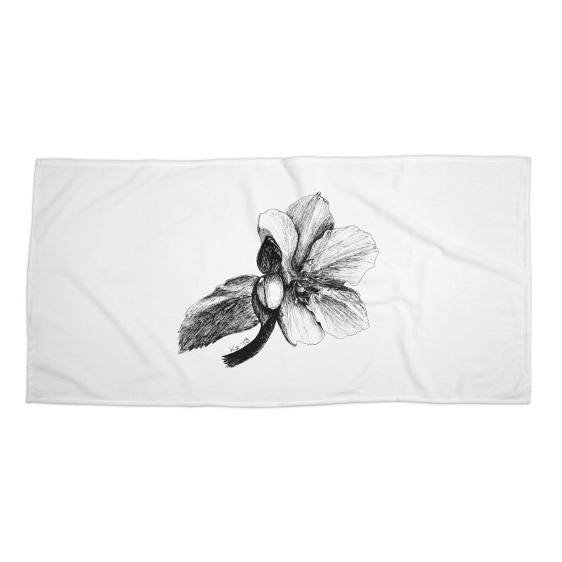 Flower T-shirt Accessories Beach Towel by kouzza's Artist Shop