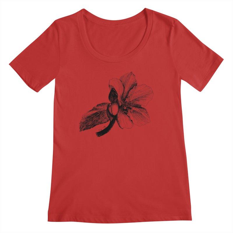 Flower T-shirt Women's Regular Scoop Neck by kouzza's Artist Shop