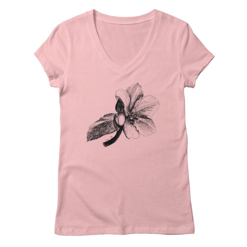 Flower T-shirt Women's V-Neck by kouzza's Artist Shop