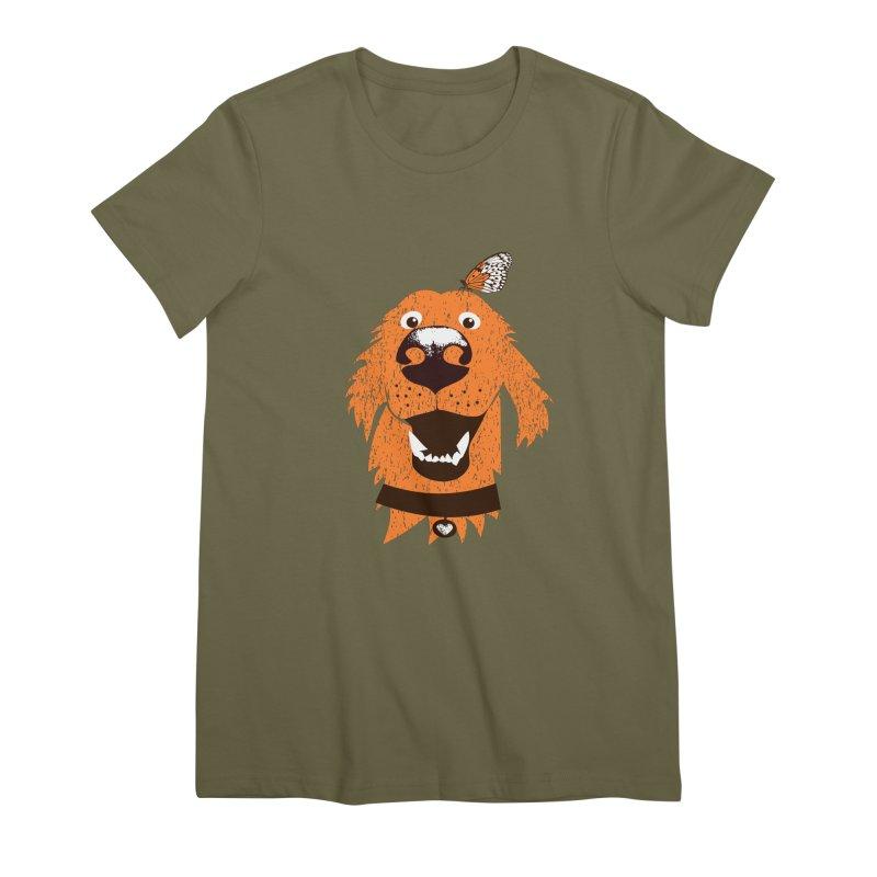 Orange dog with butterfly Women's Premium T-Shirt by kouzza's Artist Shop