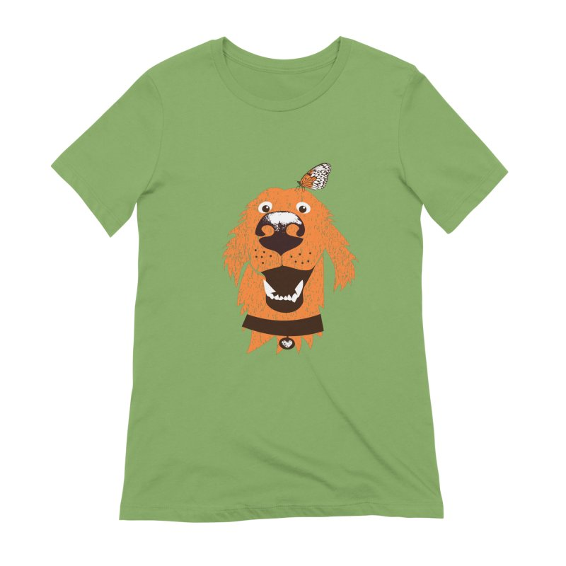 Orange dog with butterfly Women's Extra Soft T-Shirt by kouzza's Artist Shop