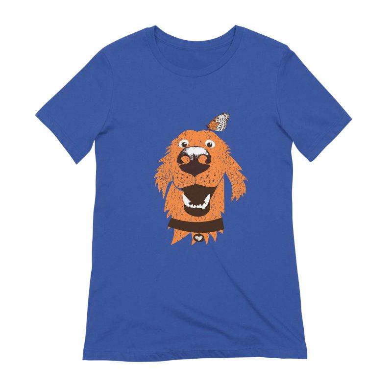 Orange dog with butterfly Women's Extra Soft T-Shirt by kouzza's Artist Shop