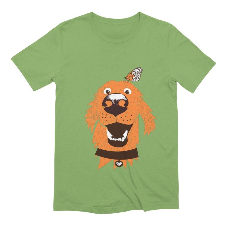 Orange dog with butterfly Men's Extra Soft T-Shirt by kouzza's Artist Shop