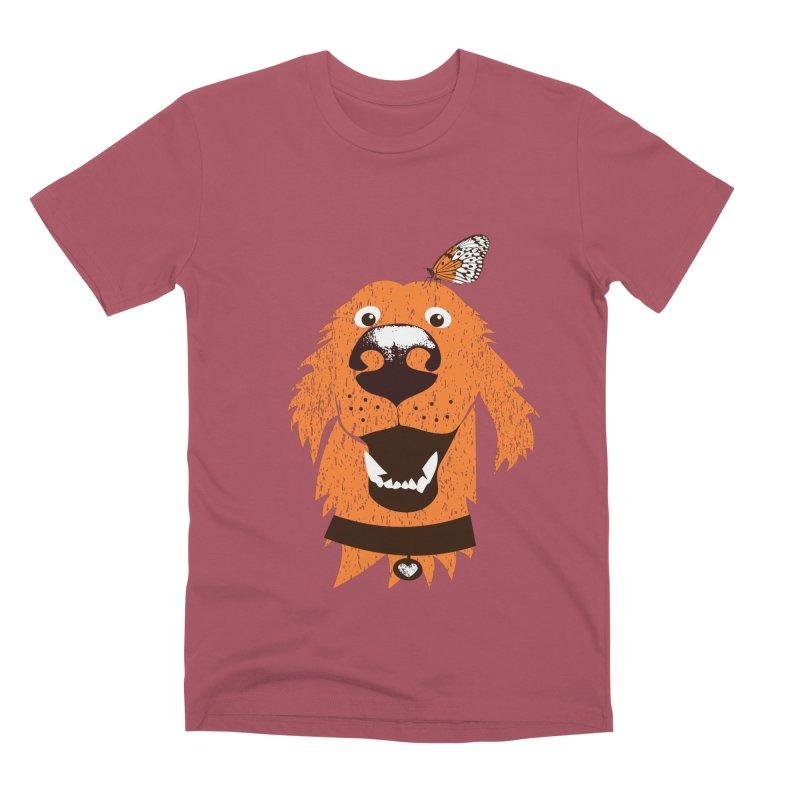 Orange dog with butterfly Men's Premium T-Shirt by kouzza's Artist Shop