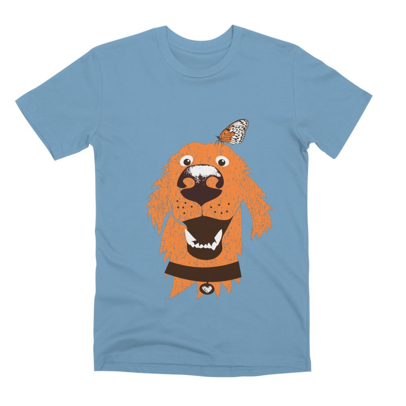 Orange dog with butterfly Men's T-Shirt by kouzza's Artist Shop