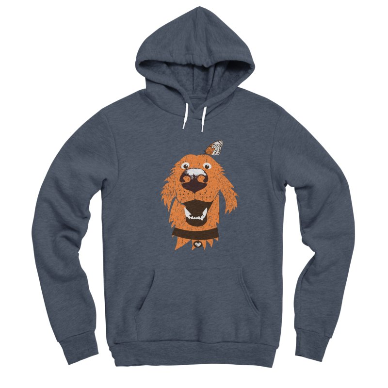 Orange dog with butterfly Men's Sponge Fleece Pullover Hoody by kouzza's Artist Shop