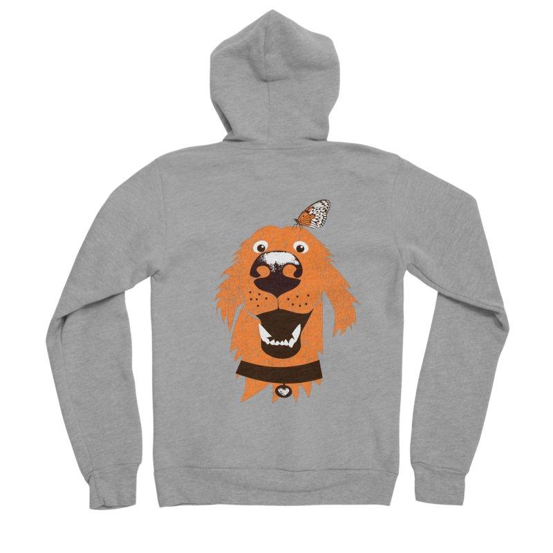 Orange dog with butterfly Men's Sponge Fleece Zip-Up Hoody by kouzza's Artist Shop