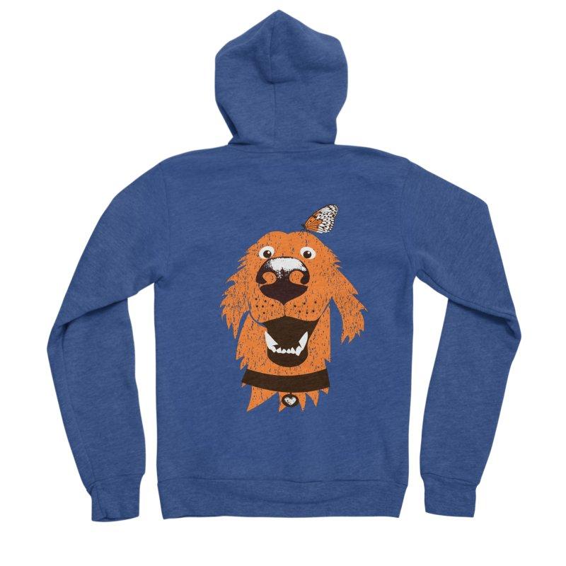 Orange dog with butterfly Women's Sponge Fleece Zip-Up Hoody by kouzza's Artist Shop
