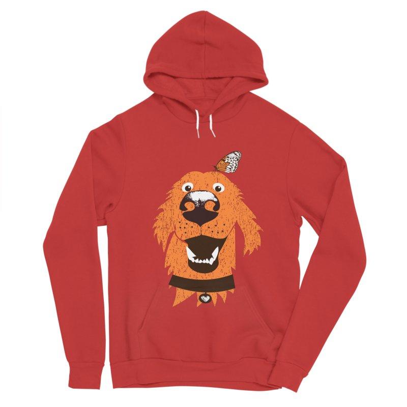 Orange dog with butterfly Men's Sponge Fleece Pullover Hoody by kouzza's Artist Shop