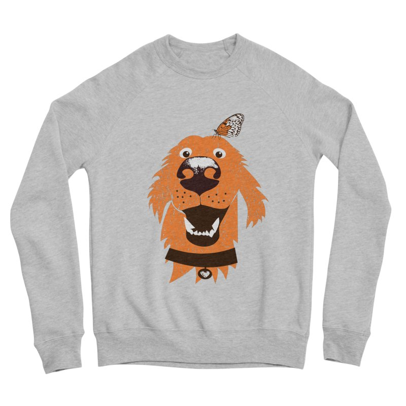 Orange dog with butterfly Women's Sponge Fleece Sweatshirt by kouzza's Artist Shop