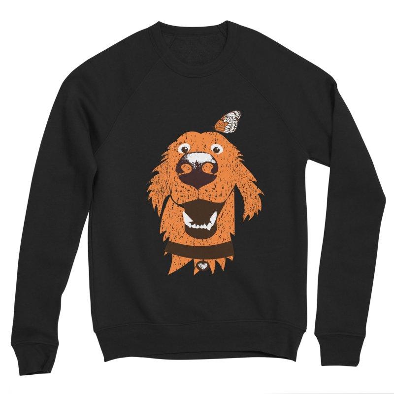 Orange dog with butterfly Men's Sponge Fleece Sweatshirt by kouzza's Artist Shop