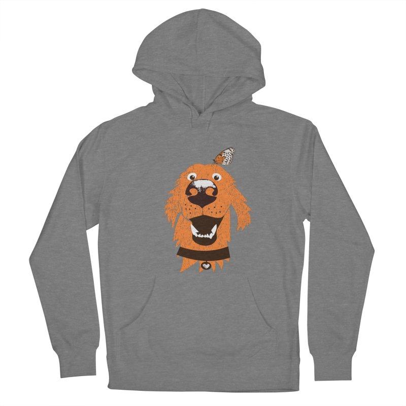 Orange dog with butterfly Women's Pullover Hoody by kouzza's Artist Shop