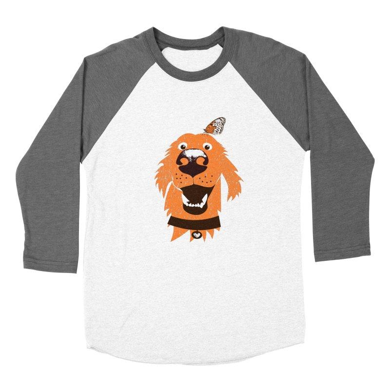 Orange dog with butterfly Men's Baseball Triblend Longsleeve T-Shirt by kouzza's Artist Shop