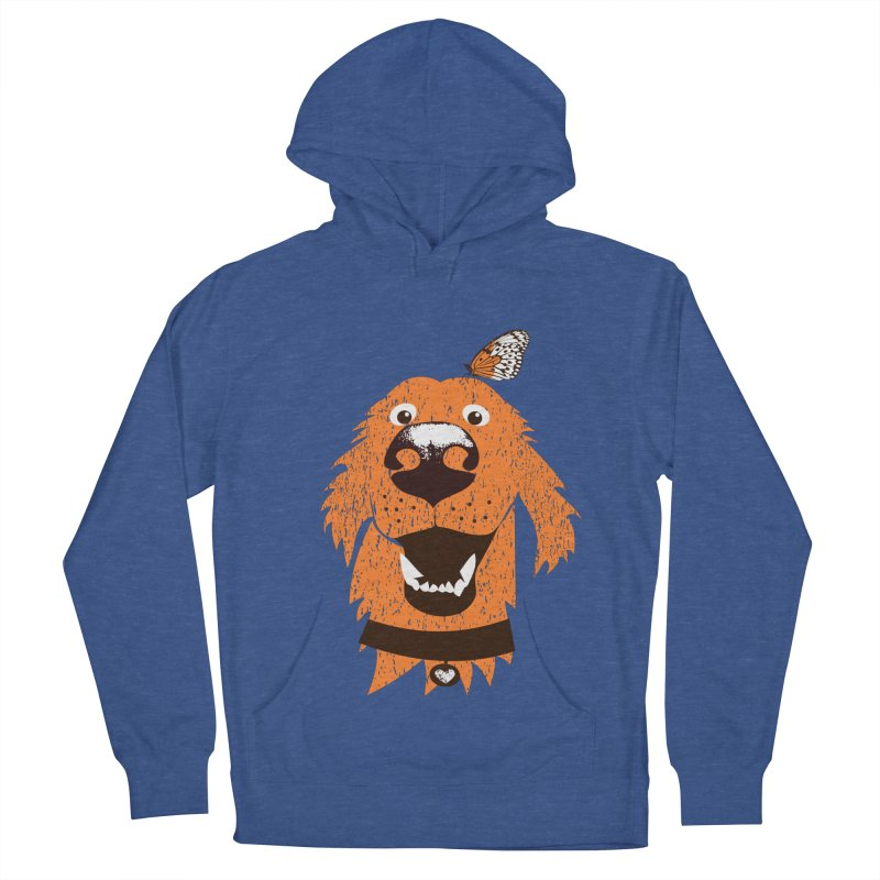 Orange dog with butterfly Women's French Terry Pullover Hoody by kouzza's Artist Shop