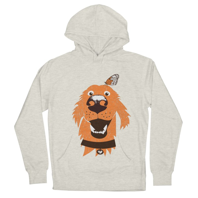 Orange dog with butterfly Men's French Terry Pullover Hoody by kouzza's Artist Shop