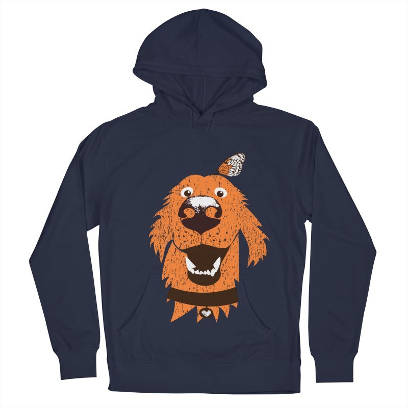 Orange dog with butterfly Men's Pullover Hoody by kouzza's Artist Shop