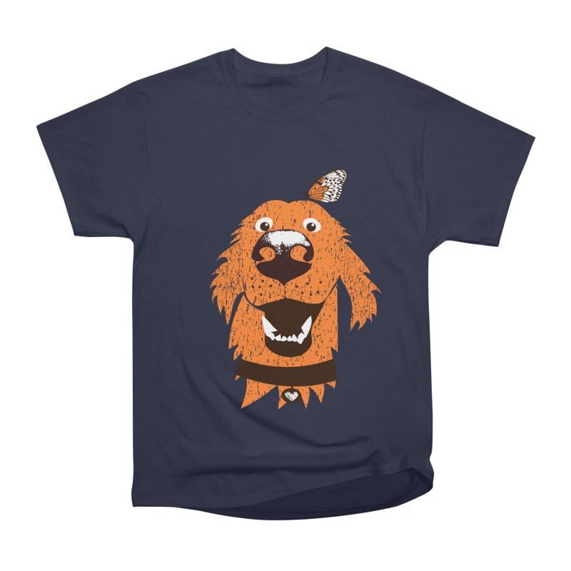 Orange dog with butterfly Men's Heavyweight T-Shirt by kouzza's Artist Shop