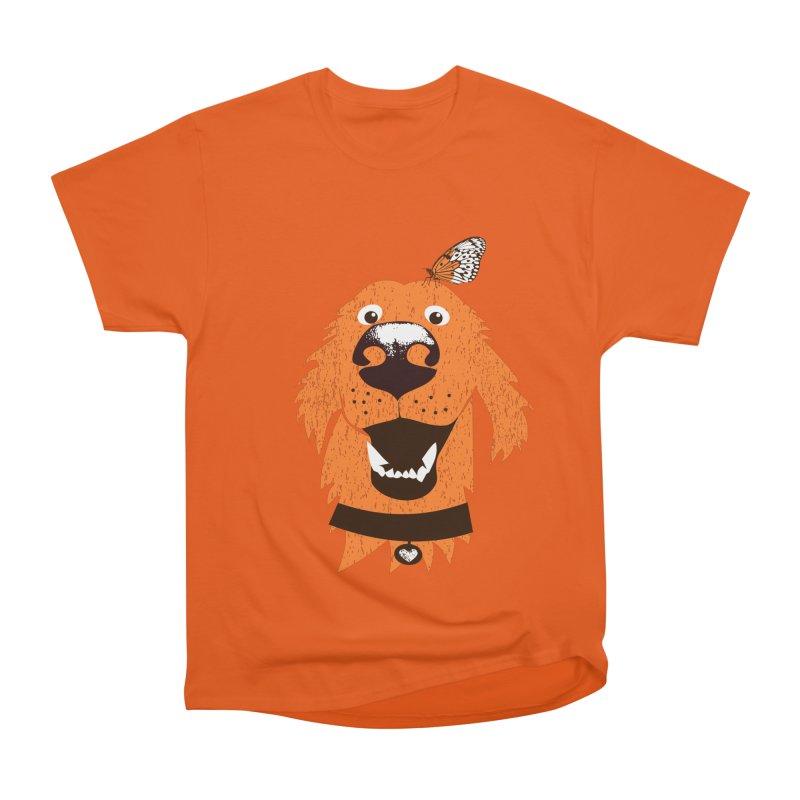 Orange dog with butterfly Men's T-Shirt by kouzza's Artist Shop
