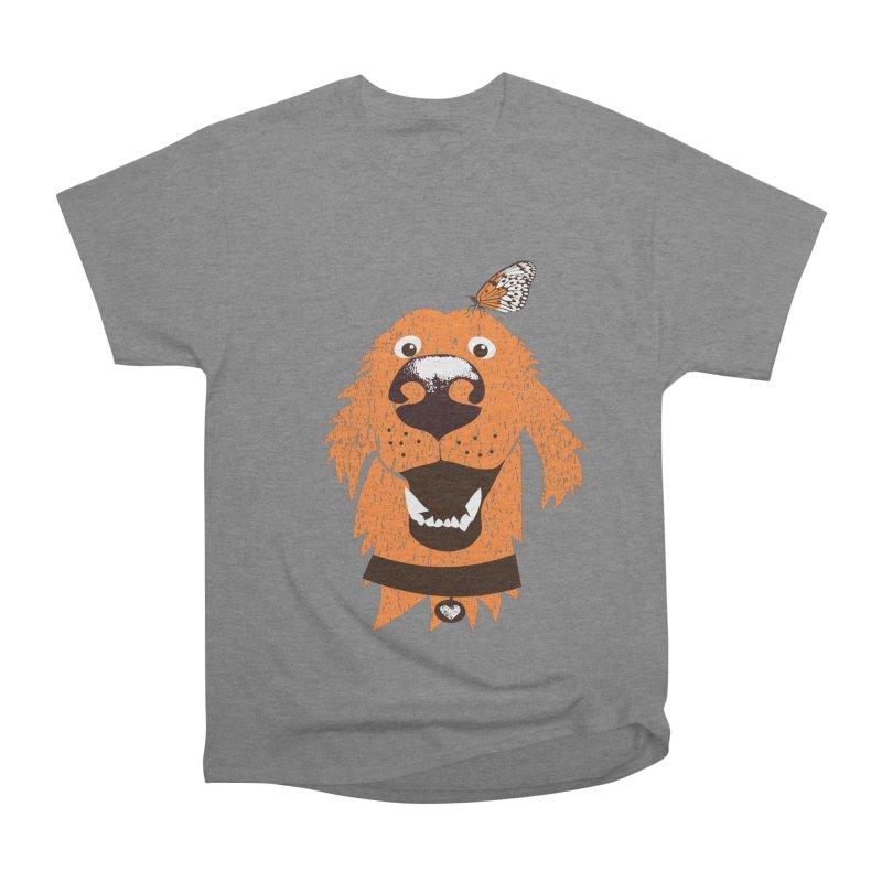 Orange dog with butterfly Women's Heavyweight Unisex T-Shirt by kouzza's Artist Shop
