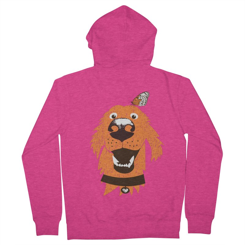 Orange dog with butterfly Women's French Terry Zip-Up Hoody by kouzza's Artist Shop