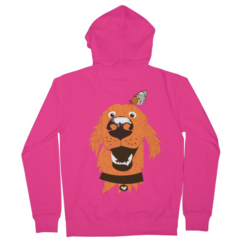 Orange dog with butterfly Men's French Terry Zip-Up Hoody by kouzza's Artist Shop