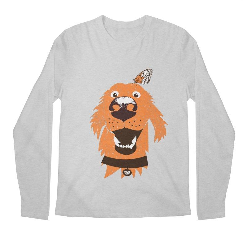 Orange dog with butterfly Men's Regular Longsleeve T-Shirt by kouzza's Artist Shop