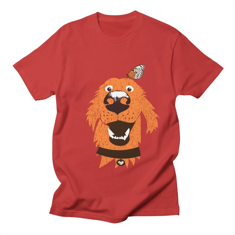 Orange dog with butterfly Men's Regular T-Shirt by kouzza's Artist Shop