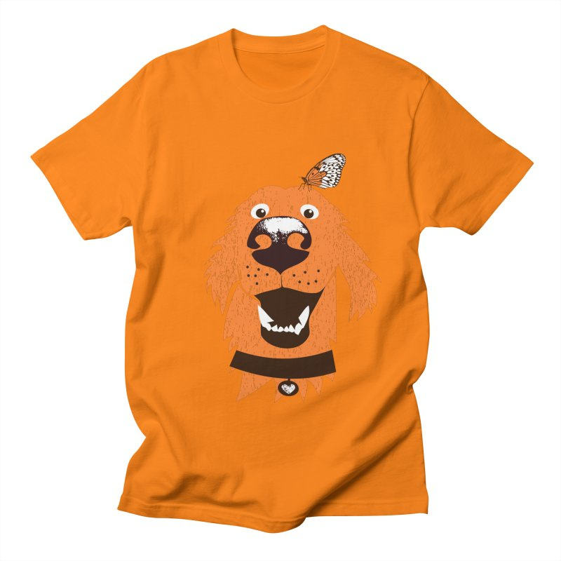 Orange dog with butterfly Women's Regular Unisex T-Shirt by kouzza's Artist Shop