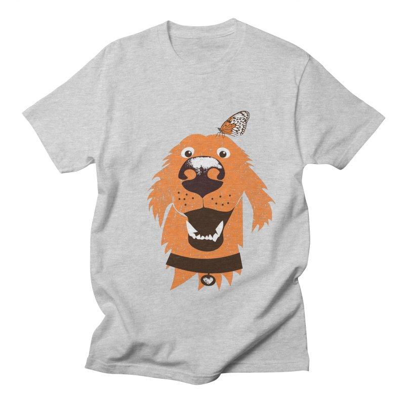Orange dog with butterfly Women's Regular Unisex T-Shirt by kouzza's Artist Shop