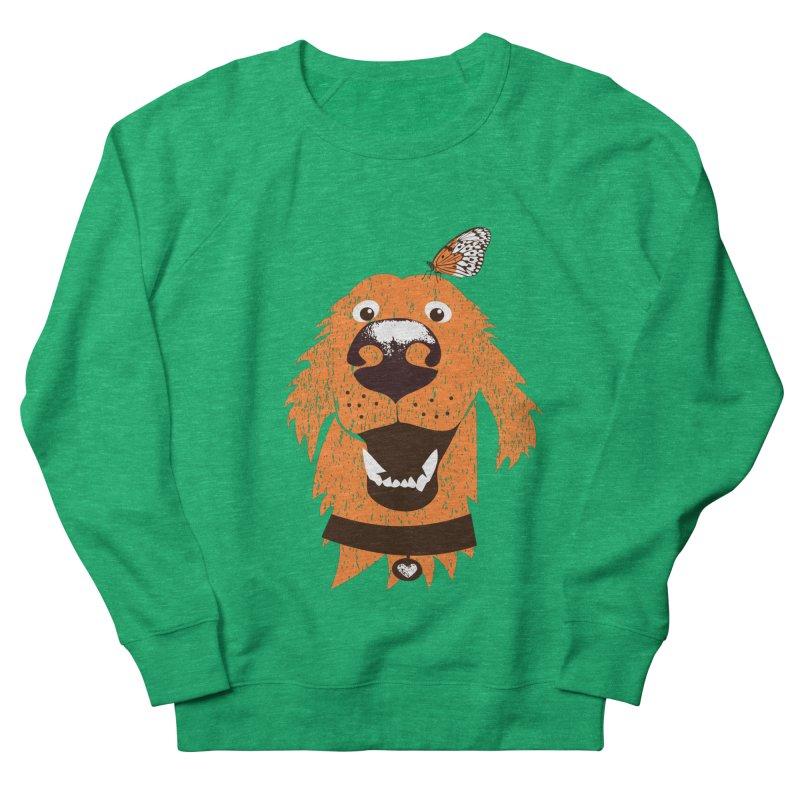 Orange dog with butterfly Men's French Terry Sweatshirt by kouzza's Artist Shop