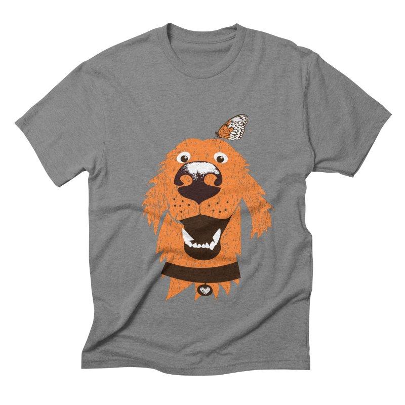 Orange dog with butterfly Men's Triblend T-Shirt by kouzza's Artist Shop