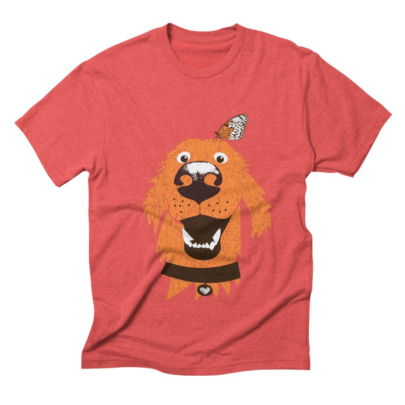 Orange dog with butterfly Men's Triblend T-Shirt by kouzza's Artist Shop