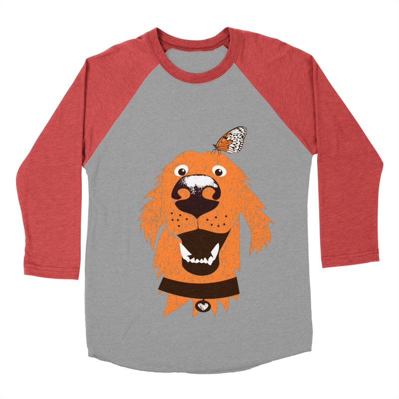 Orange dog with butterfly Women's Baseball Triblend Longsleeve T-Shirt by kouzza's Artist Shop