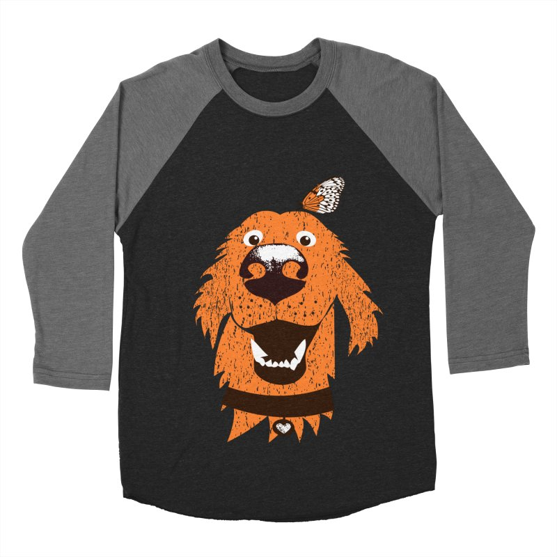 Orange dog with butterfly Women's Baseball Triblend Longsleeve T-Shirt by kouzza's Artist Shop