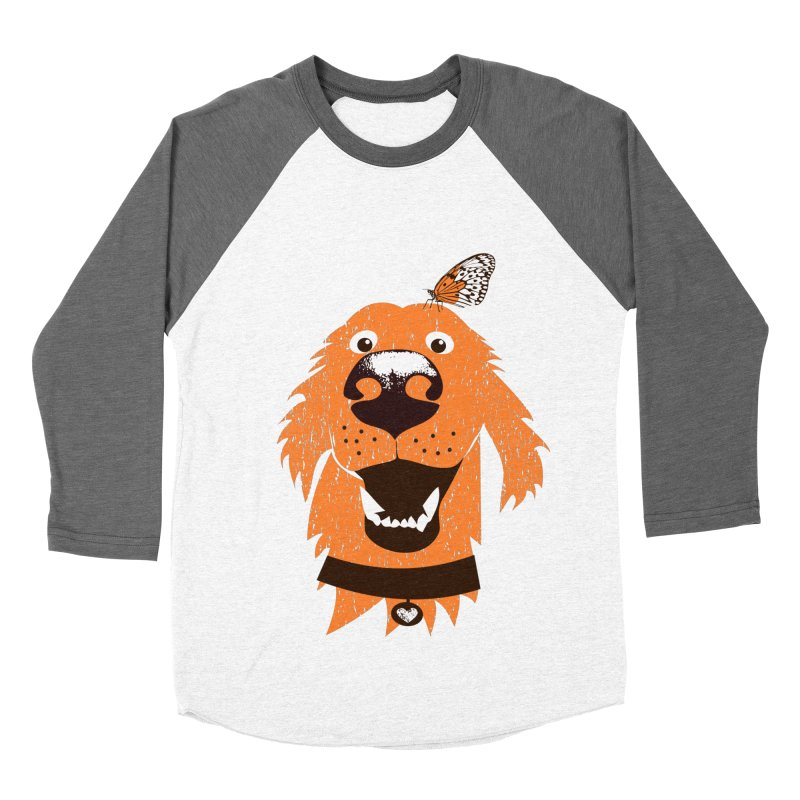 Orange dog with butterfly Men's Baseball Triblend Longsleeve T-Shirt by kouzza's Artist Shop